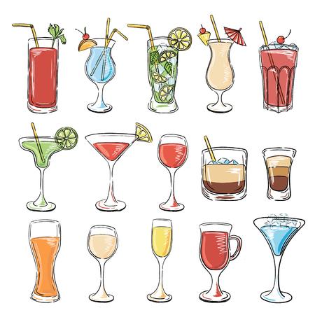 cocteles: Colecci�n de c�cteles. Vector conjunto de dibujo C�cteles y Bebidas Alcoh�licas. Margarita, Laguna Azul, Mojito, Cosmopolitan, Pi�a Colada, Bloody Mary, vino caliente, Iceberg, Long Island, White Russian.
