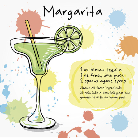 margarita: Margarita. Hand drawn illustration of cocktail, including recipes and ingredients. Vector collection. Illustration