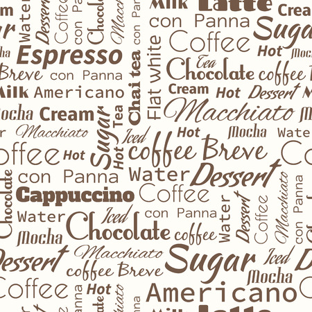 Seamless background with coffee tags. Useful for restaurant identity, packaging, menu design and interior decorating.  イラスト・ベクター素材