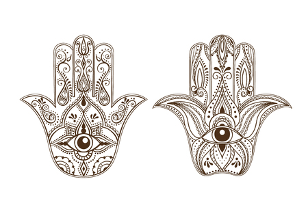 all seeing eye: Indian Hand Drawn Hamsa with All Seeing Eye. Arabic and Jewish amulet. Vector Illustration.