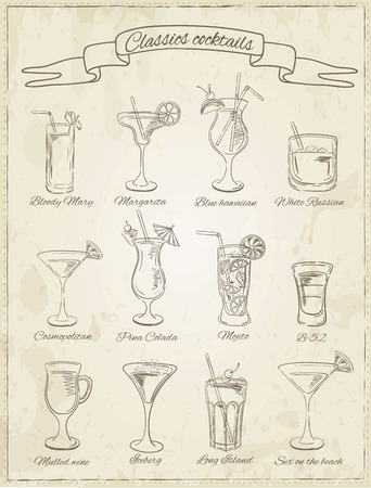 colada: Cocktails collection. Vector Set of Sketch Cocktails and Alcohol Drinks. Margarita, Blue Lagoon, Mojito, Cosmopolitan, Pina Colada, Bloody Mary, Mulled wine, Illustration