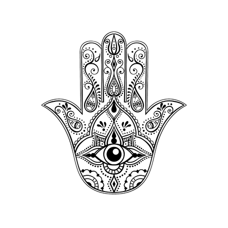 at eyes: Mano india Drawn Hamsa con All Seeing Eye. Amuleto árabe y judía. Ilustración del vector.