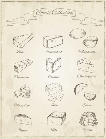 cheddar cheese: Collection of cheese on a vintage background. Cut sliced cheese assortment. Decorative icons set. Vector illustration of for design menus, recipes and packages Illustration