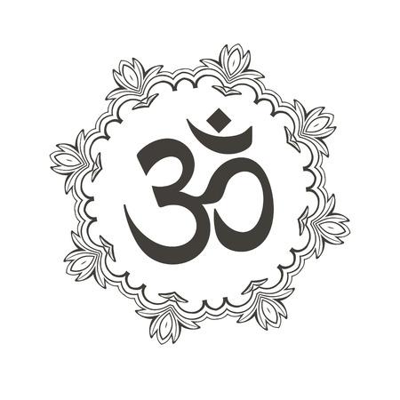 マンダラのディワリ Om シンボル。タトゥー、ヨガスタジオ、スピリチュアリティ概念、トレンディな繊維の素晴らしいデザイン。