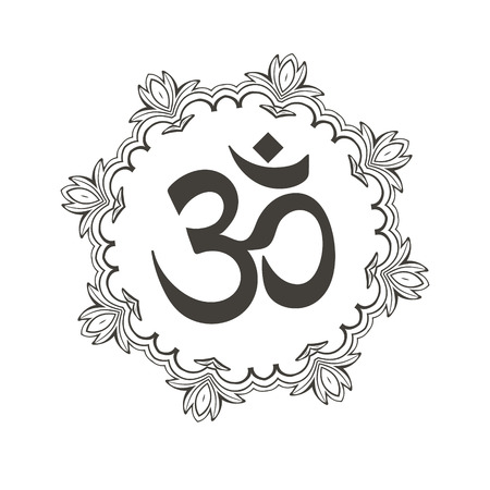 Diwali Om symbol with mandala. Great design for tattoo, yoga studio, spirituality concepts, trendy textiles.