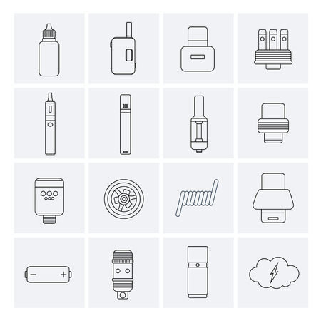 Vector Set of Vape Line Icons. Иллюстрация