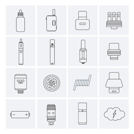 Vector Set of Vape Line Icons. Stock Illustratie