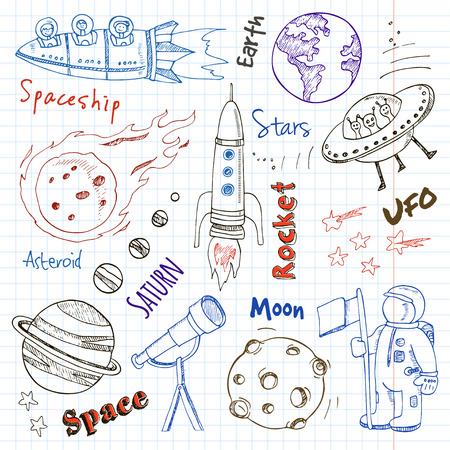 Space hand drawn doodles. Stars, planet and space transportation. Vector illustration