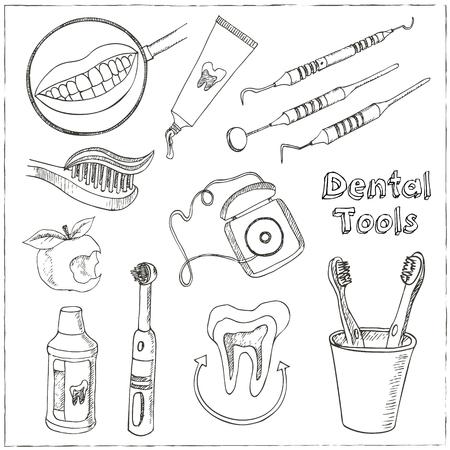 Doodle Stil Zahnarzt Ausrüstung Skizze. Das Set enthält Picks, Spiegel, caduceus, Zahnbürste, Lächeln und Zähne.