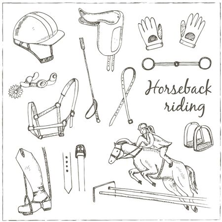 Vector hand drawn horse labels for different equestrian activities.