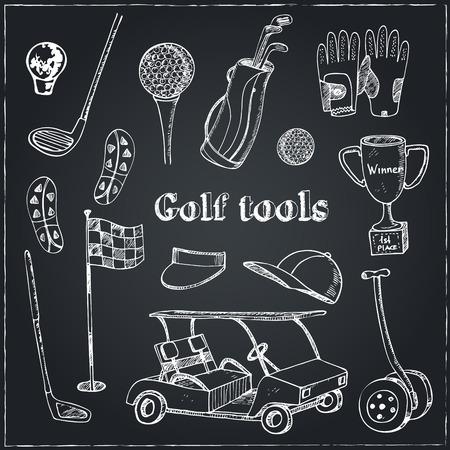 Vector dessiné à la main avec des outils mis Golf. Illustration vintage pour le club de golf identité, conception, décoration, emballages et produits de décoration intérieure.