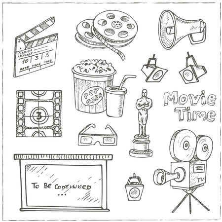 filmstrip: Set of objects and symbols on the cinema theme.  Sketches. Hand-drawing. Vector illustration of for design and packages product. Vector Illustration.