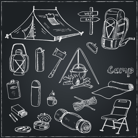 camping equipment: Set of hand drawn camping equipment drawings. Sketches. Hand-drawing. Vector illustration of for design and packages product. Vector Illustration.