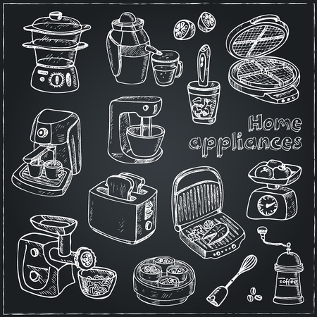 Home appliances themed doodle set. Sketches. Hand-drawing. Vector illustration of for design and packages product. Vector Illustration.