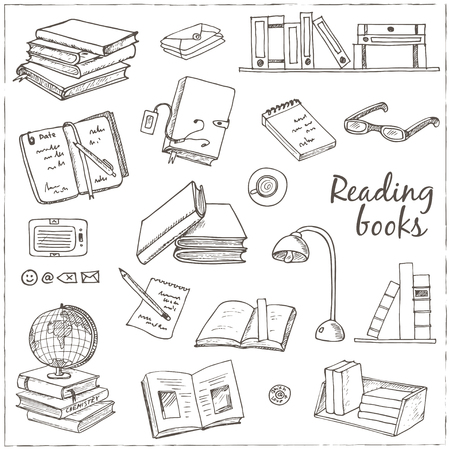 Hand drawn doodle Books Reading set. Sketches. Vector illustration of for design and packages product. Vector Illustration. Illustration