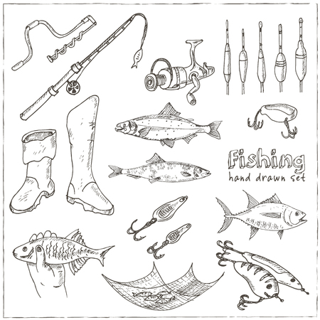 fishing tackle: Fishing tackle tools. Sketches. Hand-drawing fishing equipment. Vector illustration of for design and packages product. Vector Illustration.