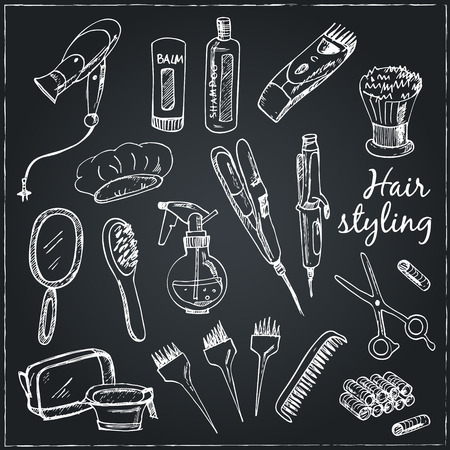 clippers comb: Collection of  Vector hand drawn Tools for make-up and hairstyle.