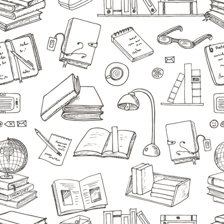 Hand drawn doodle Books Reading seamless pattern. Sketches. Vector illustration of books for design and packages product. Vector Illustration. Stock Illustratie