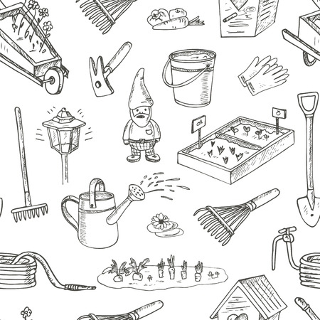 Garden tools seamless pattern. Various equipment and facilities for gardening and agriculture. Vintage illustration for identity, design, decoration, packages product and interior decorating.