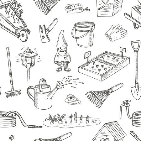Outils de jardin seamless pattern. équipements et installations pour le jardinage et l'agriculture Vaus. illustration vintage pour l'identité, la conception, la décoration, les paquets produits et inter décoration.