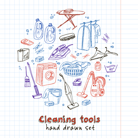 Laundry themed doodle set. Various equipment and facilities for washing, drying and ironing clothes. Vintage illustration for identity, design, decoration, packages product and interior decorating. Vetores