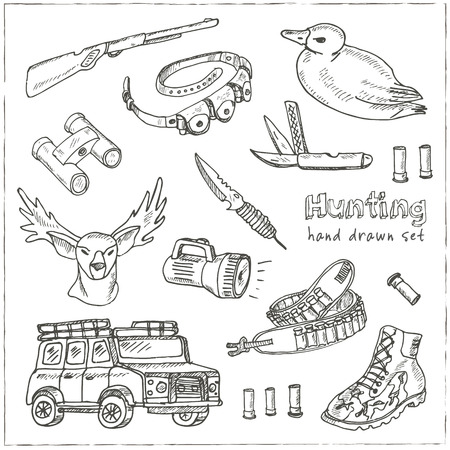 crossbow: Hand drawn doodle hunting set. Sketchy hunt related icons, hunting elements, gun, crossbow, hunting wear cloths, boots, duck, binoculars. Vector illustration of for design and packages product.