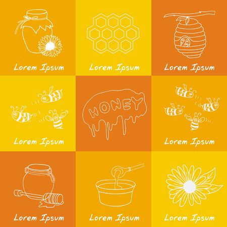 bee house: Hand drawn vector set with honey elements. Bee, honey, bee house, flowers, honeycomb. Honey healthy food production.