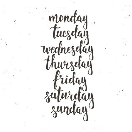 wednesday: Handwritten days of the week: Monday, Tuesday, Wednesday, Thursday, Friday, Saturday, Sunday. Black ink calligraphy words isolated on white background. Calligraphy.
