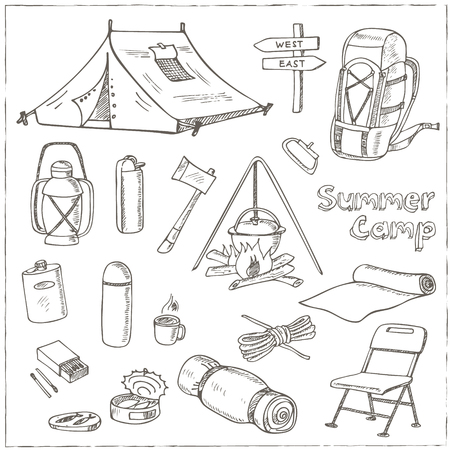 Set of hand drawn camping equipment drawings. Sketches. Hand-drawing. Vector illustration of for design and packages product. Vector Illustration. Reklamní fotografie - 54942529
