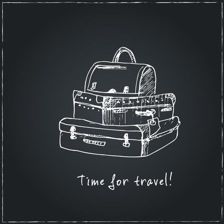 Tijd om te reizen. Motiverende reisaffiche met koffer. Reistekeningen. Sketches. Handtekening. Vectorillustratie van voor ontwerp en pakkettenproduct. Vector illustratie.