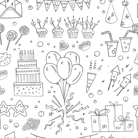 heart drawing: Birthday party doodles seamless pattern. Vector illustration. Useful for invitation, cards, packaging, design and interior decorating. Illustration