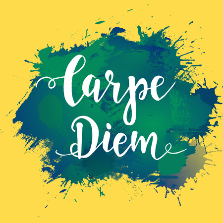 capture the moment: Carpe diem - latin phrase means Capture the moment. Hand drawn typography poster. T shirt hand lettered calligraphic design. Illustration