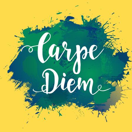 carpe diem: Carpe diem - latin phrase means Capture the moment. Hand drawn typography poster. T shirt hand lettered calligraphic design. Illustration
