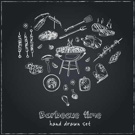Vector hand drawn set with barbecue tools on black chalkboard. Vintage illustration for design menus, recipes and packages product.