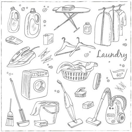 lavandose las manos: Servicio de lavandería temáticas conjunto del doodle. Varios equipos e instalaciones para el lavado, secado y planchado de la ropa. Ilustración de la vendimia de la identidad, diseño, decoración, producto de paquetes y la decoración de interiores.