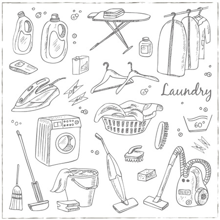 Laundry themed doodle set. Various equipment and facilities for washing, drying and ironing clothes.  Vintage illustration for identity, design, decoration, packages product and interior decorating. Illustration