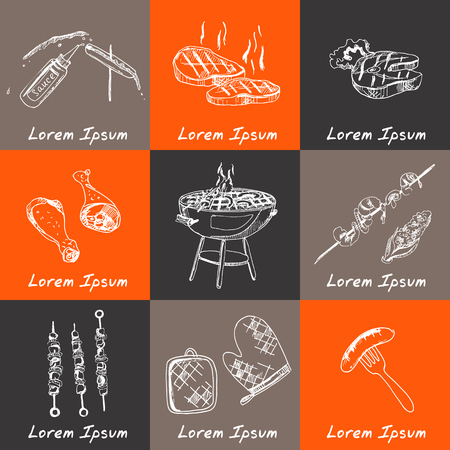 outdoor party: Vector hand drawn set with barbecue tools on black chalkboard. Vintage illustration for design menus, recipes and packages product.