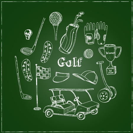caddy: Vector hand drawn set with Golf tools. Vintage illustration for golf club identity, design, decoration, packages product and interior decorating.