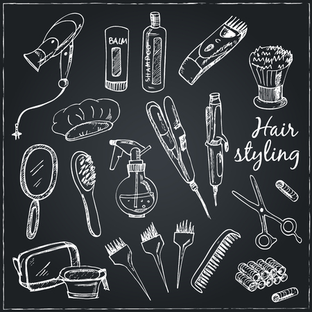hair clippers: Collection of  Vector hand drawn Tools for make-up and hairstyle.