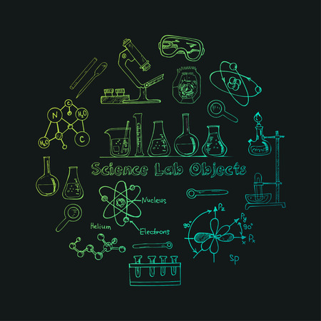 chemistry lab: Collection of  Vector hand drawn doodle science lab objects. Back to School.