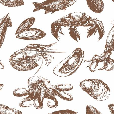 mussel: Hand drawn sketch pattern with seafood. Mussel,  Shrimp, Squid, Octopus, Crab, Fish. Vector illustration of for design menus, recipes and packages product.
