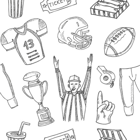 bases: Baseball seamless pattern. Sketches of various stylized, baseball equipment, baseball icons, baseball field, ball, mitt. Hand-drawing. Vector illustration for design and packages product.