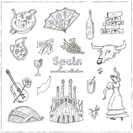 Hand getrokken doodle Spanje symbolen. Schetsmatig Icons set. Travel Collection. Geïsoleerde vector illustratie.