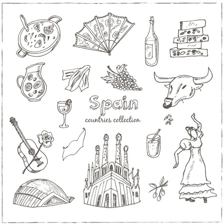 bailando flamenco: Mano de bosquejo dibujado España conjunto de símbolos. Iconos incompletos del conjunto. Colección de viajes. ilustración del vector.
