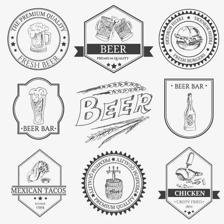 Set of vintage beer festival emblems, labels, , symbols, stickers, badges and designed elements.  Vector illustration. Isolated on white background