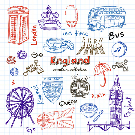 queens jubilee: Hand drawn doodle England symbols set . Sketchy Icons set. Travel  Collection. Isolated vector illustration.