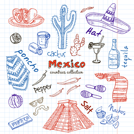machete: Hand drawn doodle Mexico symbols set. Sketchy Icons set. Travel  Collection. Isolated vector illustration.