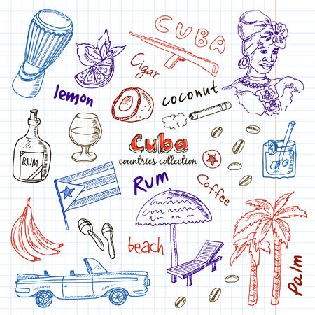 手描き落書きキューバ旅行セットです。大ざっぱなアイコンは、ラム酒、ヤシの木、車、フラグを設定します。コレクションを旅行します。ベクト