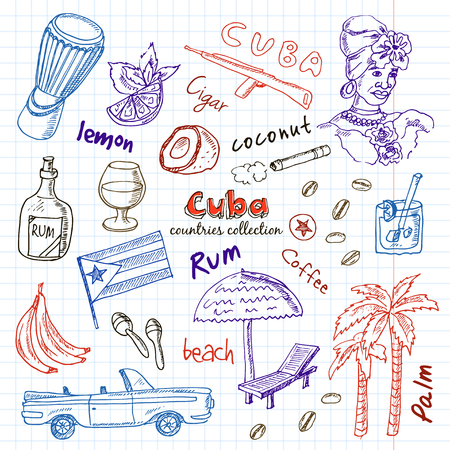 cuban cigar: Hand drawn doodle Cuba travel set. Sketchy Icons set with Rum, palms, car, flag. Travel  Collection. Isolated vector illustration.