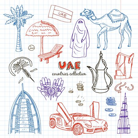 Hand drawn doodle UAE travel set. Sketchy Icons set with food icons United Arab Emirates elements, Flag Dubai, Camel, Oil. Muslim Travel Collection.Isolated vector illustration.